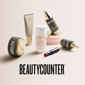 a collection of Beautycounter skin care and makeup products