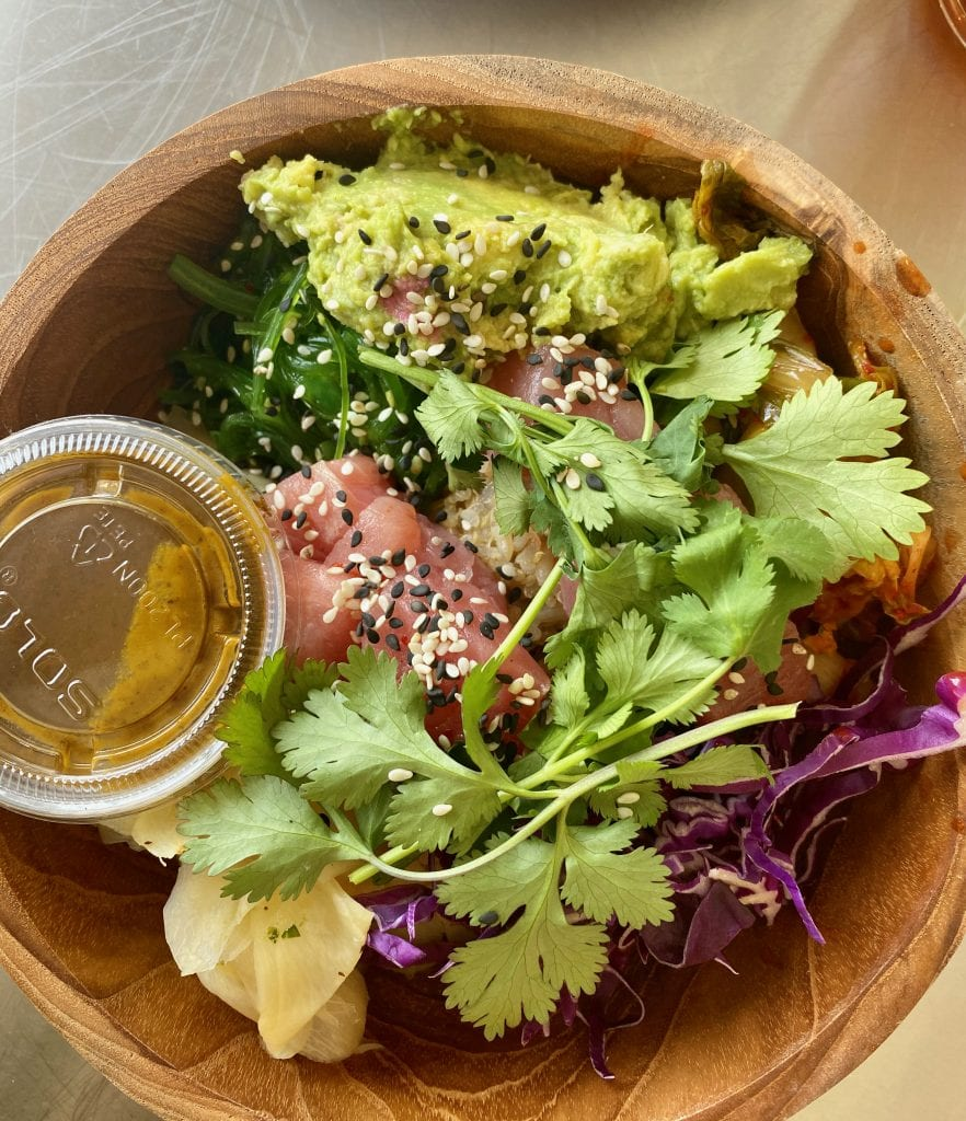 overhead shot of sushi bowl from Billie's Grocery, a favorite heathy place to eat in Kansas City